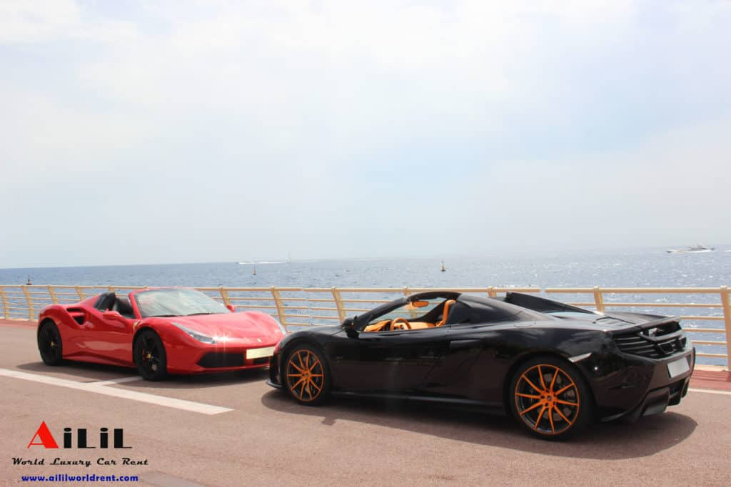 Rent Ferrari 488 Spider and McLaren 650S Spider in Monaco